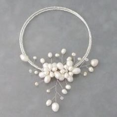 White Pearl Floral Ray Wire Wrap Choker Necklace (5-15 mm) (Thailand)   Overstock.com Shopping - The Best Deals on Necklaces