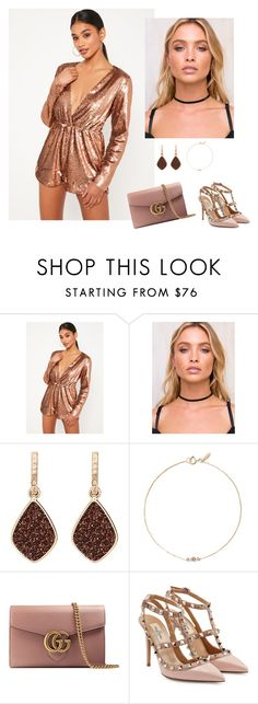 """""""Rose gold"""" by audrey-balt on Polyvore featuring Missguided, Midsummer Star, H.Azeem, Xiao Wang, Gucci and Valentino"""