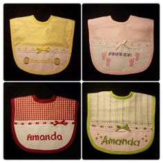 Amanda's first bibs Collection from JyM Creations! - To place your orders, questions or comments, please contact us at jymcreations@gmail.com #bibs #crossstitch