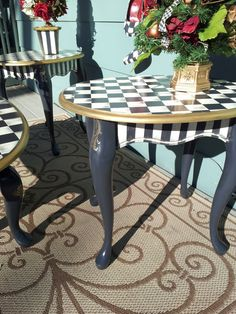 Whimsical Black and White French Country Check End Side Table Hand Painted One of a Kind @Ashton Ehnes This reminds me of Alice in Wonderland and therefore of you.
