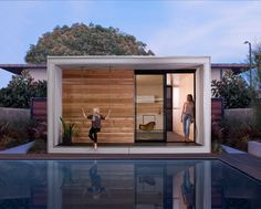"""Plús Hús is an Icelandic-inspired tiny prefab cabin by Minarc, that can go up in one's backyard as an accessory dwelling unit (ADU or """"secondary suites""""). Modern Prefab Homes, Modular Homes, Flat Pack Homes, Prefab Cabins, Garden Studio, Garden Office, House And Home Magazine, Little Houses, Tiny Houses"""