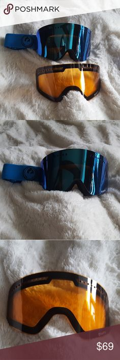 Dragon Alliance Goggle With Bonus Lens Only worn one time. Perfect condition. Very gently used. No scratches on lenses. Frameless technology to offer a huge field of vision with plenty of peripheral view. Comes with original bonus lens and carry bag. Bonus lens is yellow. Goggle is a large fit size. Helmet compatible. 100% UV protection and super anti-fog coating on lens. Triple foam with hypoallergenic micro fleece lining. The blue lens can be worn on cloudy or sunny days. Yellow lens…