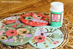 Botanical Custom Painted Cork Coasters - Rifle Paper Company Inspired