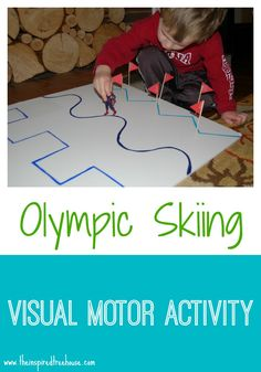 At loss for something to keep your children busy on a winter's day? Try this fun #Olympic skiing activity that will emphasize #visualmotor and #finemotor skills.