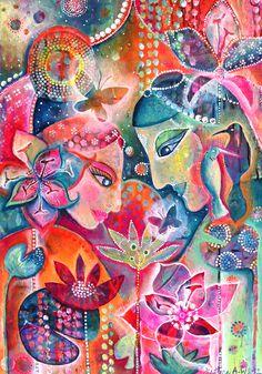 Colorful Goddesses <3 #Artwork by: Justine Aldersey Williams