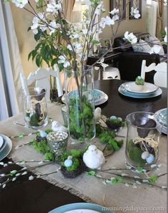 Serenity Now: More Highlighted Links--Share Your Best Post!. Lovely green and white Easter centerpiece. Love the combo of pussy willows, moss and burlap.