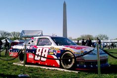 Dale Earnhardt Jr.'s No. 88 Chevrolet sits on display at the White House with a NASCAR Unites - An American Salute paint scheme on April 9, 2012, in Washington, D.C.