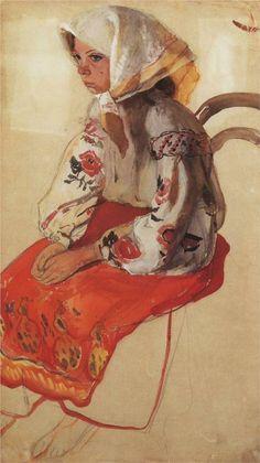 Peasant Girl, 1905-1906-Zinaida Serebriakova - by style - Art Nouveau (Modern)