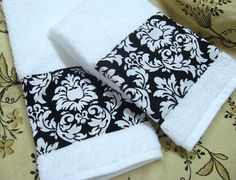 FLEUR DELIS Custom Decorated Hand Towels  Black by Sew1Pretty, $17.00