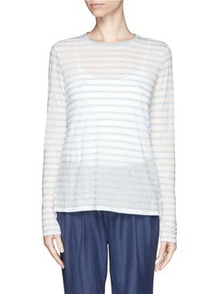 VINCE - Striped long tissue jersey tee - on SALE | Blue T-Shirts Tops | Womenswear | Lane Crawford