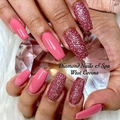Tapered Square Nails. Pink Nails. Pink Glitter Nails. Sugar Effect Nails. Acrylic Nails. Gel Nails. Summer Nails.
