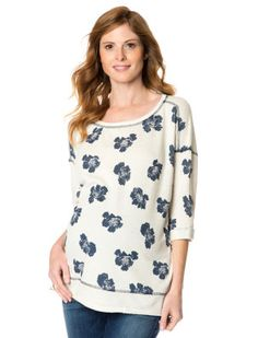Destination Maternity Willow and Clay Elbow Sleeve Scoop Neck Screen Print Maternity Sweatshirt #destinationmatstyle