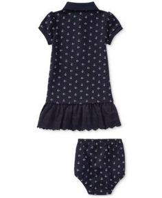 Ralph Lauren Anchor-Print Cotton Polo Dress, Baby Girls (0-24 months) - Anchors Away 12 months