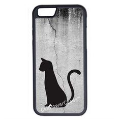 CellPowerCasesTM Cat on Cracked Wall iPhone 6 (4.7) V1 Black Case ($9.98) ❤ liked on Polyvore featuring accessories, tech accessories, phone cases, phones, tech and black