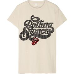 MadeWorn Rolling Stones appliquéd printed cotton-jersey T-shirt found on Polyvore featuring tops, t-shirts, shirts, roll t shirt, distressed shirt, distressed tees, ripped shirt and vintage style t shirts