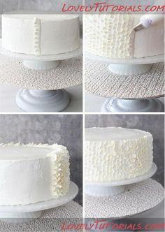 Ruffle Cake Tutorial -Cake Decorating Tutorials (How To's) Cake Decorating Techniques, Cake Decorating Tutorials, Cookie Decorating, Cake Icing, Buttercream Cake, Ruffle Cake Tutorial, Bolo Minion, Bolo Cake, Frosting Techniques