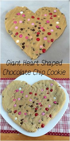 Giant Heart Shaped Valentine's Day Chocolate Chip Cookie!