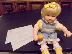 Marie Osmond Tiny Tots Lizzy Lemon Fruit Cup Doll + COA + Necklace + Accessory #MarieOsmond #DollswithClothingAccessories