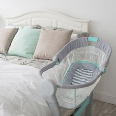 SwaddleMe® By Your Bed™ Bedside Sleeper By Summer Infant® - Gray/Blue : Target The Babys, Bedside Bassinet, Baby Bassinet, Baby Bedside Sleeper, Baby Must Haves, Baby Supplies, Everything Baby, Kids Sleep, Baby Needs