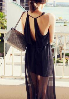 Chiffon Cutout Back Maxi Dress - Black @LookBookStore