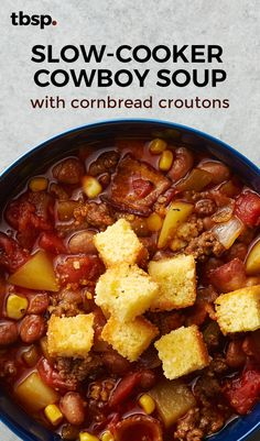 Whether or not you're cooking for ranch hands (we're guessing not), you can make this hearty soup with ingredients you likely have on hand. Pick up store-bought cornbread for homemade-ish croutons in a snap.