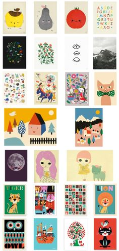 A selection of the prints we stock, Elisabeth Dunker for Fine Little Day, Marta Fromme for Fine Little Day, Helen Dardik for PSikhouvanjou, Anna Kövecses for PSikhouvanjou, Ashley Goldberg, Moon Fur Neil print, Ingela P Arrhenius * http://the-pippa-and-ike-show.com/category.php?category_id=83&page=g