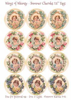 """Wings of Whimsy: Summer Cherubs 2,5"""" Circles  #vintage #ephemera #freebie #printable"""