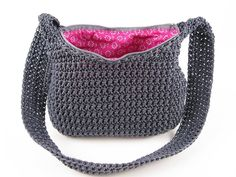 Crochet Nylon Handbag Pattern Digital by ModernNeedlepoint Crochet Purse Patterns, Crochet Motifs, Crochet Stitches, Tote Pattern, Bag Patterns, Sewing Patterns, Wallet Pattern, Crochet Crafts, Crochet Yarn