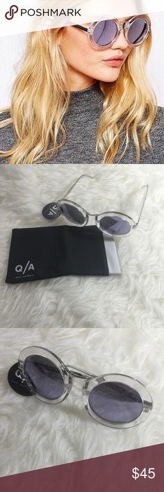 Quay Australia Round Frame Sunglasses Quay Australia life in Xanadu round clear frame sunglasses. Chunky clear frames. Gradient tinted lenses. 100% UV protection. 100% polycarbonate lens and frame. Metal trim. Comes with cloth case. Lilac lenses. Quay Australia Accessories Sunglasses