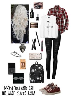 """Geen titel #106"" by yafabgurlragnaxoxoxx ❤ liked on Polyvore featuring Converse, Motel, Urban Decay, Sephora Collection, Too Faced Cosmetics and Nails Inc."