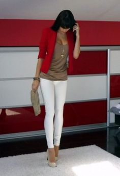red blazer, tan blouse, white skinnies, nude pumps