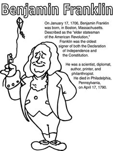free printable benjamin franklin coloring pages | 1000+ images about benjamin franklin on Pinterest ...
