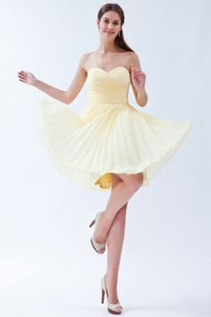 Light Yellow Empire Sweetheart Knee-length Chiffon Pleats Dama Dresses for Sweet 16 Classic Bridesmaids Dresses, Yellow Bridesmaid Dresses, One Shoulder Bridesmaid Dresses, Modest Wedding Dresses, Wedding Party Dresses, Cheap Cocktail Dresses, Plus Size Cocktail Dresses, Cheap Homecoming Dresses, Cheap Dresses