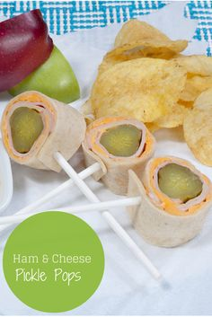 Ham and Cheese Pickle Pops are the perfect lunch box idea for big and little kids.
