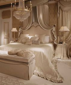 / white bedroom with chandelier /