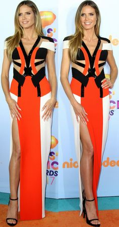 Heidi Klum wearing an Atelier Versace gown and black ankle-strap sandals at the 2017 Kids' Choice Awards