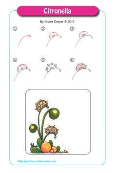 Citronella by Nicole Dreyer Doodle Zen, Zen Doodle Patterns, Tangle Doodle, Tangle Art, Zentangle Patterns, Doodle Borders, Zentangle Drawings, Doodles Zentangles, Doodle Drawings
