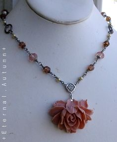 L a k s h m i III in Antiqued Silver - flower pendant necklace, hand-crafted by EternalAutumn, $40.00