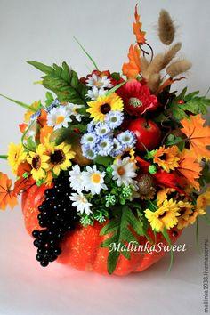 """Купить Интерьерная композиция, декор """"Осенний урожай"""" - оранжевый, декор для интерьера, тыква, тыква декоративная"""