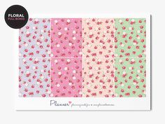 Floral Pattern Planner Stickers for Erin Condren Vertical Planner. This kit contains 8 full boxes for your planner. These planner stickers have a permanent matt