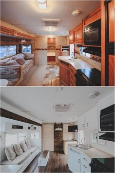 rv makeover before and after . rv makeover on a budget . rv makeover before and after motorhome . rv makeover before and after wheels Caravan Renovation, Home Renovation, Rv Interior Remodeling, Remodeling Ideas, Interior Ideas, Remodel Caravane, Travel Trailer Remodel, Travel Trailers, Travel Trailer Living