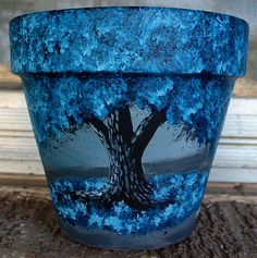 Blue 6 inch flower pot acrylic