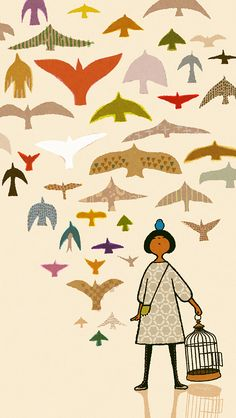Yoko Tanji [use a silhouette from Field Guide to Western Birds and then pattern from magazines]