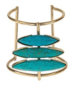 Odette Turquoise Cuff from Gemma Redux. Handmade brass statement cuff inlayed with large turquoise stones. As seen on Taylor Tomasi Hill.   All Gemma Redux pieces are made by hand and to order at our studio in New York City. Please allow two weeks for your piece to be completed and shipped.