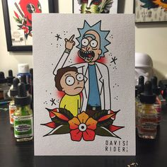 Rick & Morty Tattoo Flash Print by DavisRiderPrints on Etsy