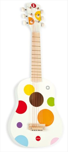 £32.95 - Janod Guitar This wooden junior guitar by Janod is an excellent instrument for little rock stars. Painted white with a colourful polka dot design this wonderful instrument encourages musical development and is a brilliant introduction to playing the guitar. The 6 metal strings can be tuned easily.