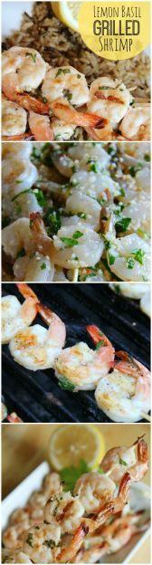 Lemon Basil Grilled Shrimp. Healthy summer grilling recipe!