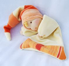 Waldorf Inspired blanket doll vanilla yellow orange by Juddolls