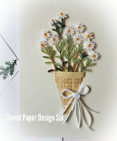 Quilling Art.Paper quilling daisy bouquet