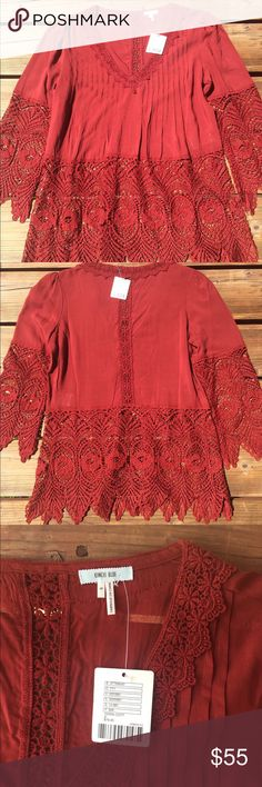NWT Urban Outfitters burgundy top 💃🏻HOST PICK💃🏻KIMICHI BLUE 3/4 sleeved, lace bottom top in Terra Cotta (rusty red) // never worn // NWT // this is a fun, flirty boho top with peek-a-boo lace at the bottom... a casual but show-stopping piece. Urban Outfitters Tops Blouses